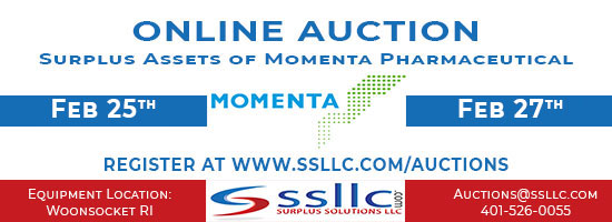 Online Auction for Surplus Assets of Momenta Pharmaceuticals Banner - 2/25/19-2/27-19. www.ssllc.com/auctions